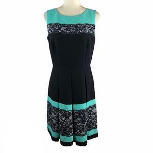 Tahari Lace Print Fit & Flare Dress